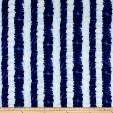 Ink Stripe Dobby Crepe Print Ivory/Cobalt Fabric By The Yard