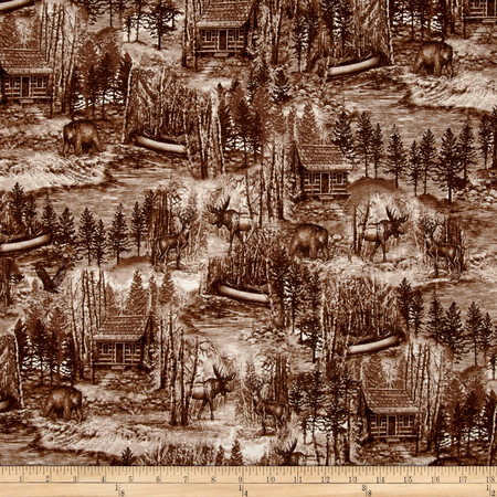 Into The Woods Scenic Toile Brown Fabric By The Yard