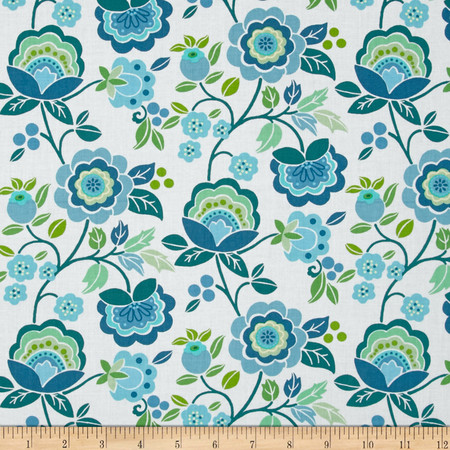 Intrigue Floral Garden Teal/White Fabric
