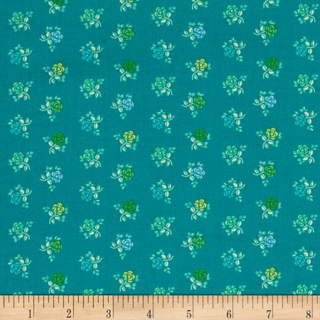 Intrigue Flower Teal Fabric By The Yard