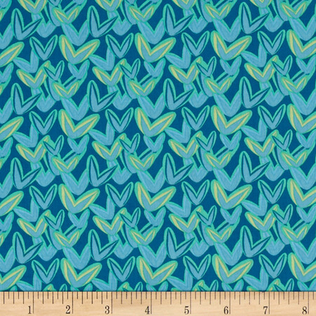 Intrigue Ombre Heart Teal Fabric