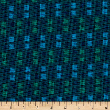 Intrigue Squares Teal Fabric By The Yard