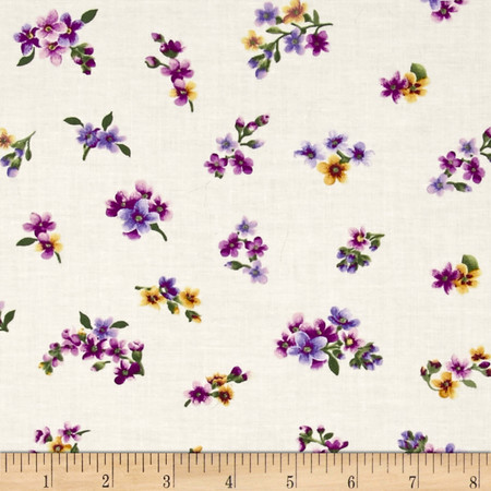 Irresistible Iris Flowerettes Cream/Multi Fabric By The Yard