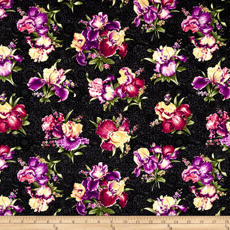 Irresistible Iris Iris Bouquets Black/Multi Fabric By The Yard