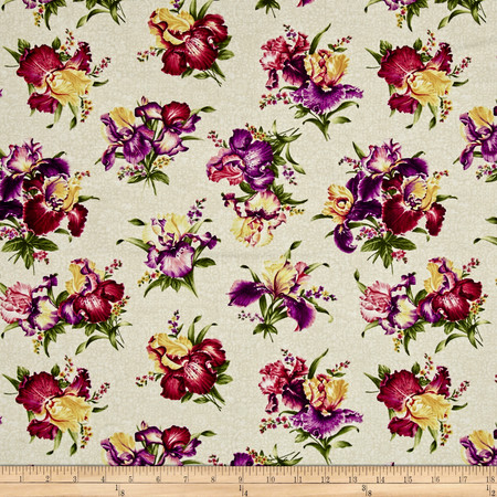 Irresistible Iris Iris Bouquets Cream/Multi Fabric By The Yard