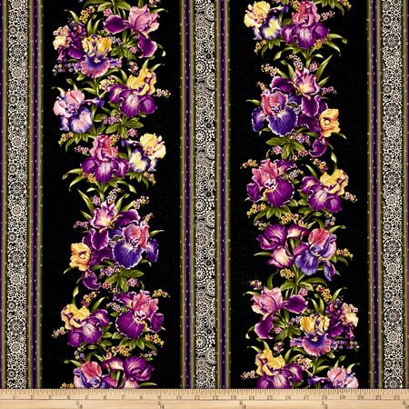 Irresistible Iris Irresistible Stripe Black/Multi Fabric By The Yard
