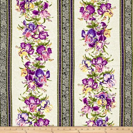 Irresistible Iris Irresistible Stripe Cream/Multi Fabric By The Yard