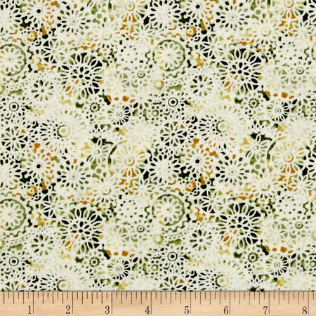 Irresistible Iris Lacey Medallions Green/Multi Fabric By The Yard