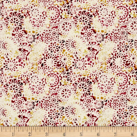 Irresistible Iris Lacey Medallions Red/Multi Fabric By The Yard