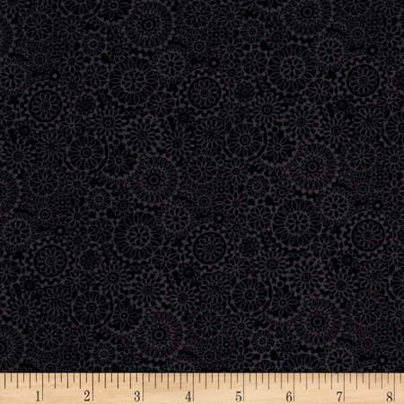 Irresistible Iris Tonal Medallions Black Fabric By The Yard
