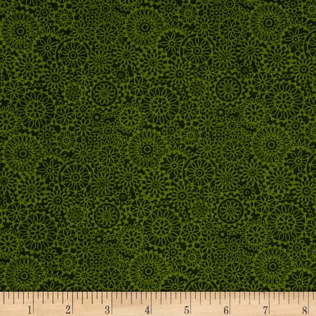 Irresistible Iris Tonal Medallions Dark Green Fabric By The Yard