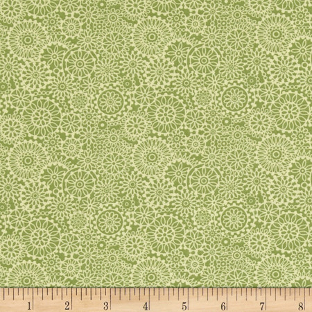 Irresistible Iris Tonal Medallions Light Green Fabric By The Yard