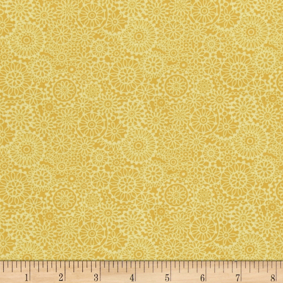 Irresistible Iris Tonal Medallions Yellow Fabric By The Yard