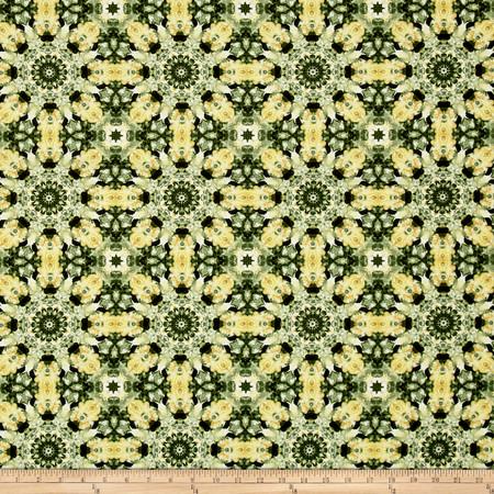 Irresistible Iris Watercolor Kaleidoscope Green/Multi Fabric By The Yard