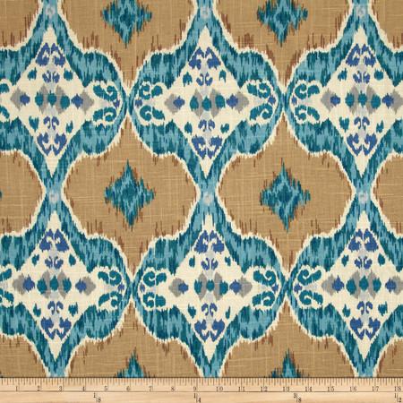 Isabelle De Borchgrave Maximilian Linen/Rayon Teal Fabric