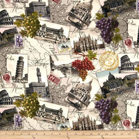 Italian Vineyard Scenic Cream Fabric