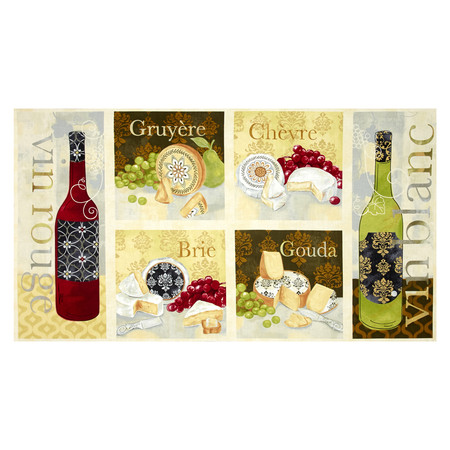 It's Wine O'Clock Craft Panel Multi Fabric By The Yard