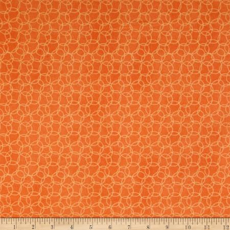 It's a Jungle in Here Flannel Circles Orange Fabric