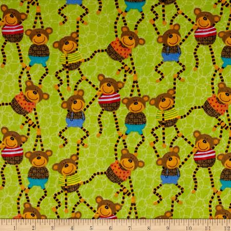 It's a Jungle in Here Flannel Monkeys Green Fabric