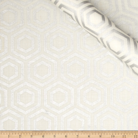Jackie Heavy Metal Collection Hexagon Metallic Silver Fabric By The Yard