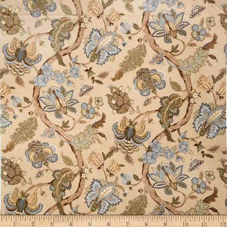 Jaclyn Smith Virginia Floral Blend Lagoon Fabric