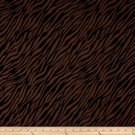 Jacquard Knit Zebra Print Brown/Black Fabric By The Yard