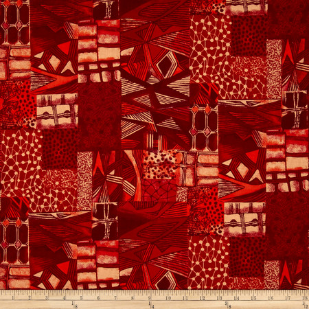 Jakarta Abstract Red Fabric By The Yard