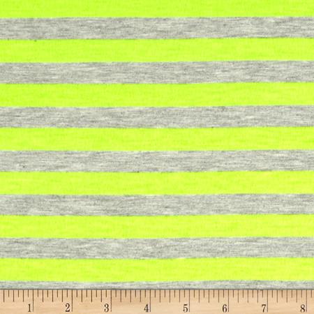 Jersey Knit 1/2'' Stripe Heather Gray/Neon Yellow Fabric By The Yard