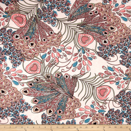 Jersey Knit Peacock Print Aqua/Pink Fabric