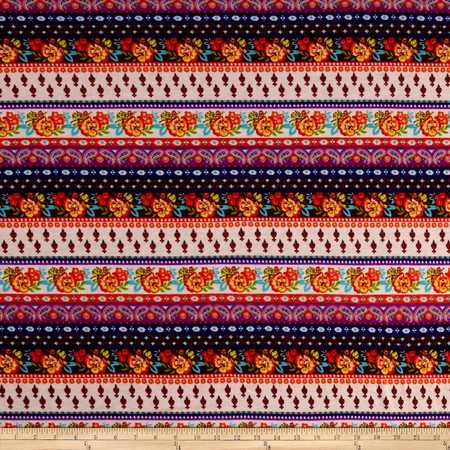 Jersey Knit Print Floral Stripe Orange Fabric By The Yard