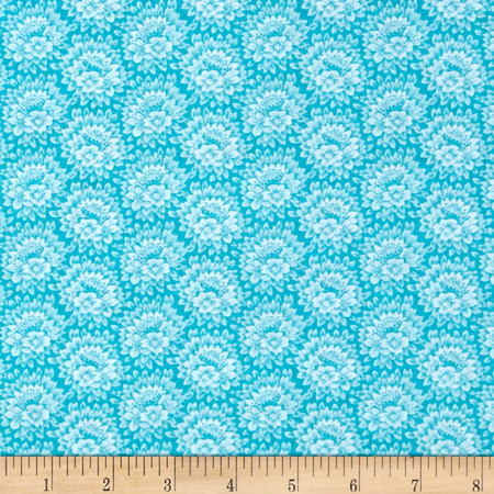 Jeweltone Classics Floral Turquoise Fabric By The Yard