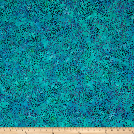 Jinny Beyer Malam Batiks III Burst Turquoise Fabric By The Yard