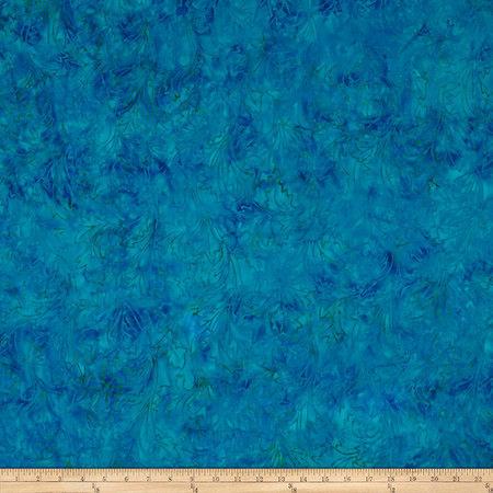 Jinny Beyer Malam Batiks III Leaf Scroll Deep Teal Fabric