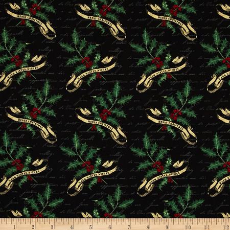 Joyeux Noel Holly Black Fabric