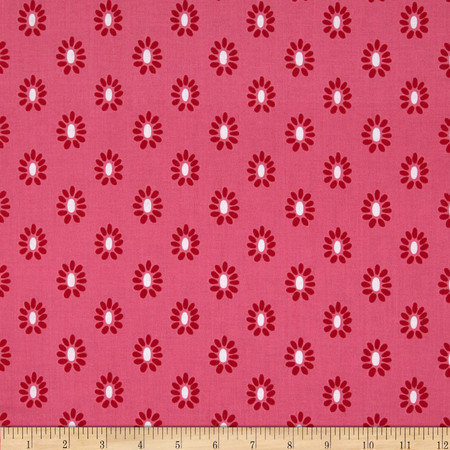 Joyful Flower Head Hot Pink Fabric