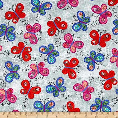 Joyful Medley Butterflies Gray Fabric By The Yard