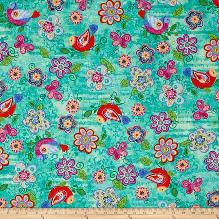 Joyful Medley Butterflies and Birds Fabric