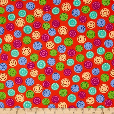 Joyful Medley Buttons Orange Fabric By The Yard