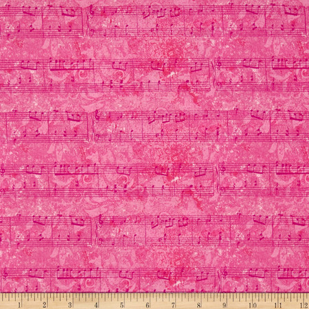 Joyful Medley Musical Notes Pink Fabric By The Yard