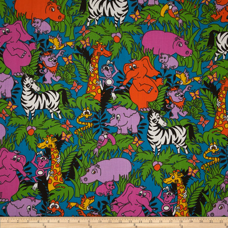 Jungle Cotton Poly Broadcloth Turquoise Fabric