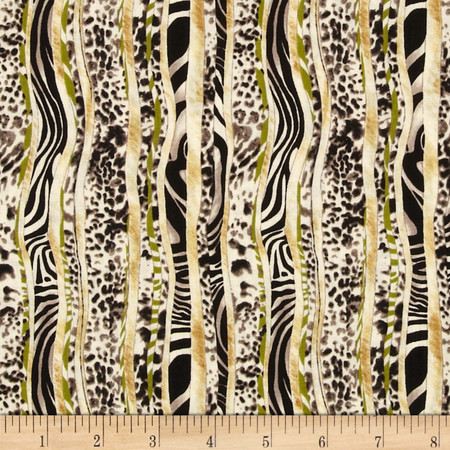 Jungle Party Multi Skin Stripe Multi/Cream Fabric