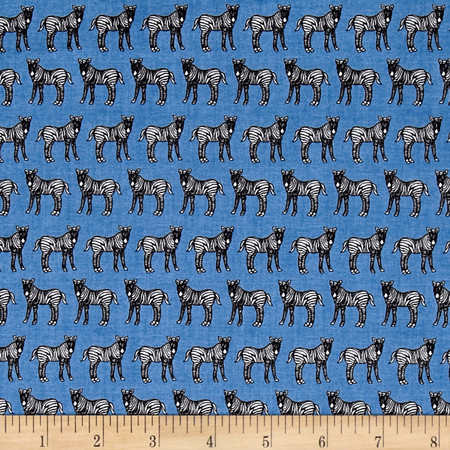 Jungle Party Standing Zebra Blue Fabric By The Yard