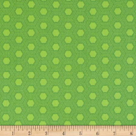 Jungle Things Hexies Lime Fabric