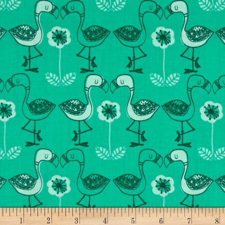 Jungly Flamingos Spearmint Fabric By The Yard