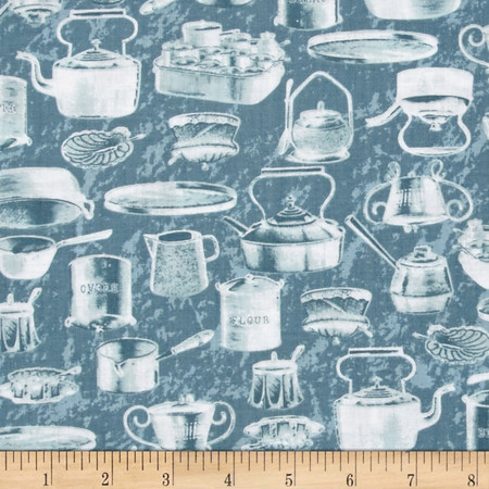 Just Desserts Pots And Pans Blue Fabric By The Yard