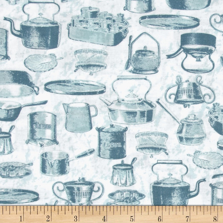 Just Desserts Pots And Pans White Fabric By The Yard