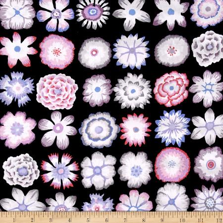 Kaffe Fassett Button Flowers Black Fabric By The Yard