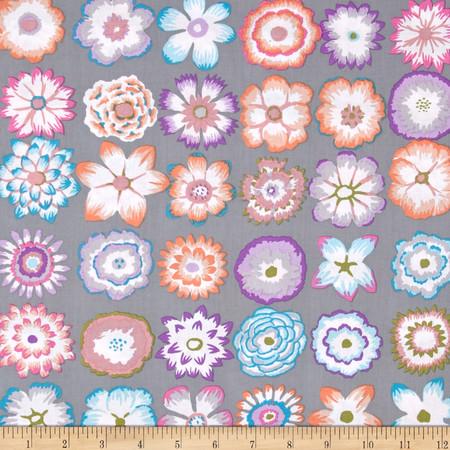 Kaffe Fassett Button Flowers Grey   Fabric By The Yard