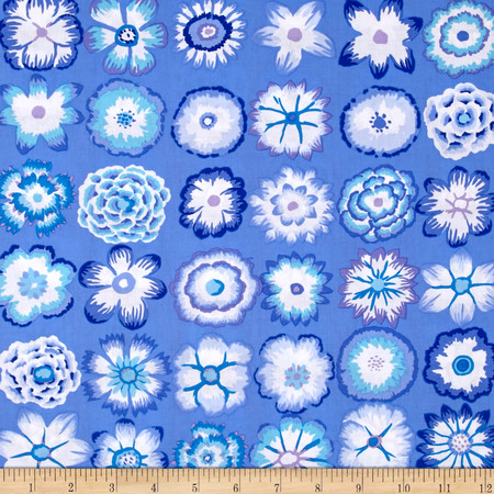 Kaffe Fassett Button Flowers  Blue Fabric By The Yard