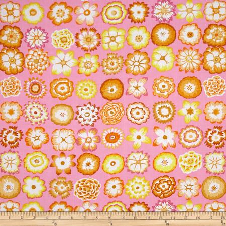 Kaffe Fassett Collective Button Flowers Pink Fabric